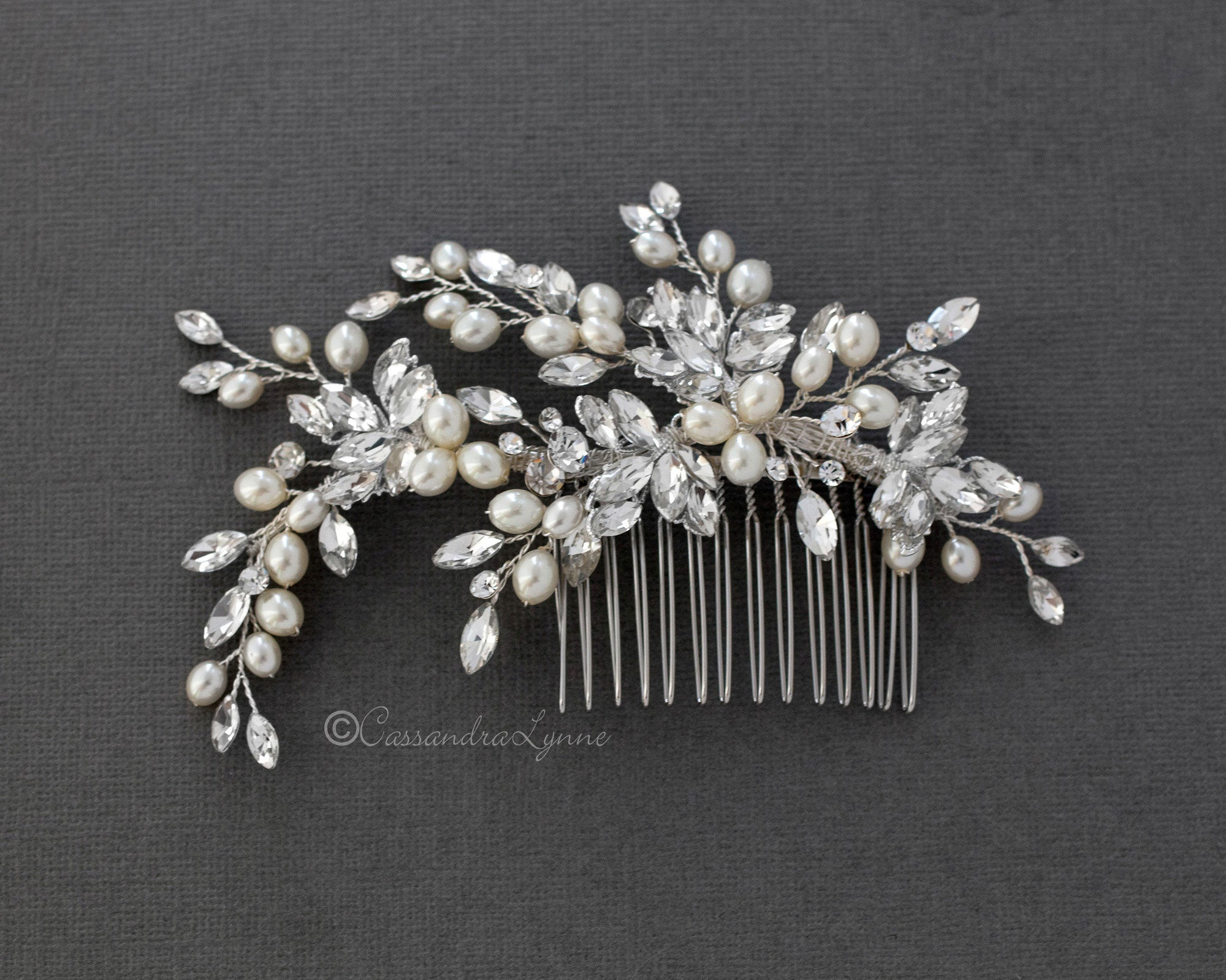 Oval Pearls Crystal Wedding Hair Comb