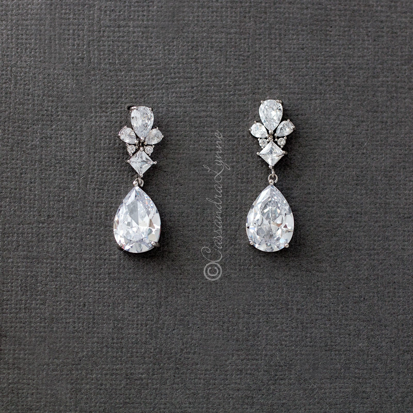 Bridal Earrings with Pear Cubic Zirconia