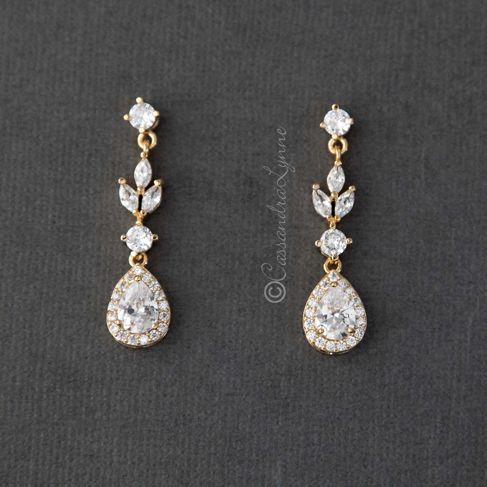 Pave Drop Bridal Earrings Gold