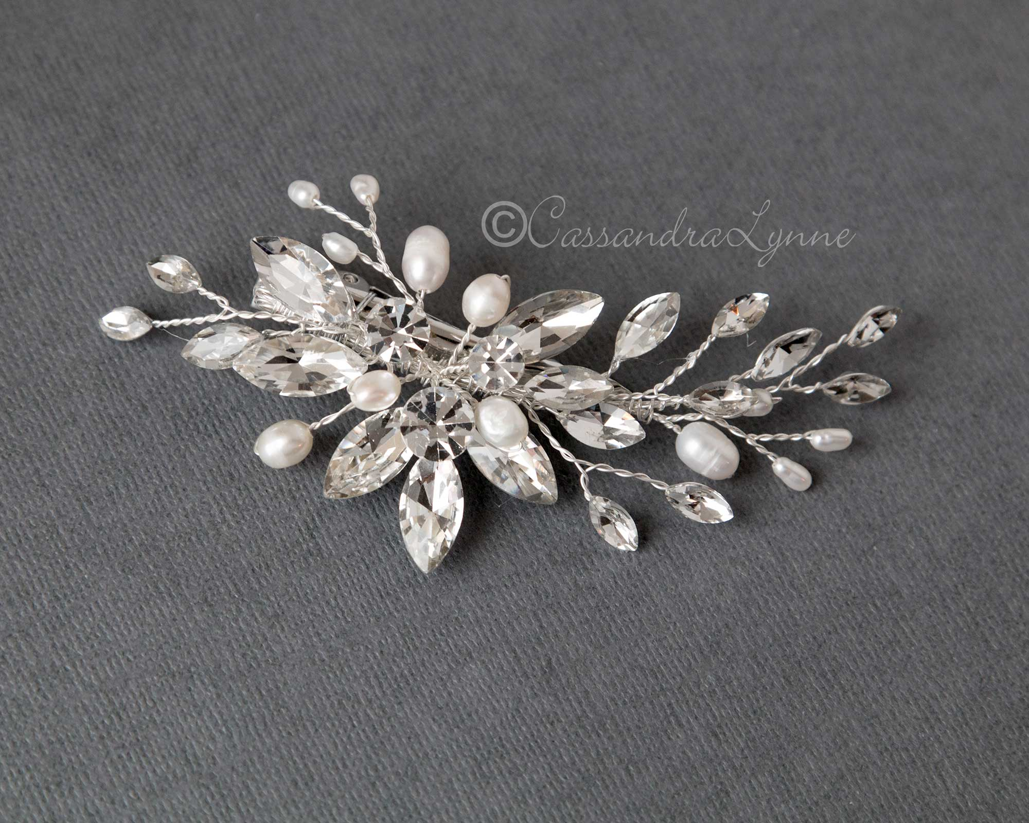 Bridal Clip of Maruqise Rhinestones and Pearls