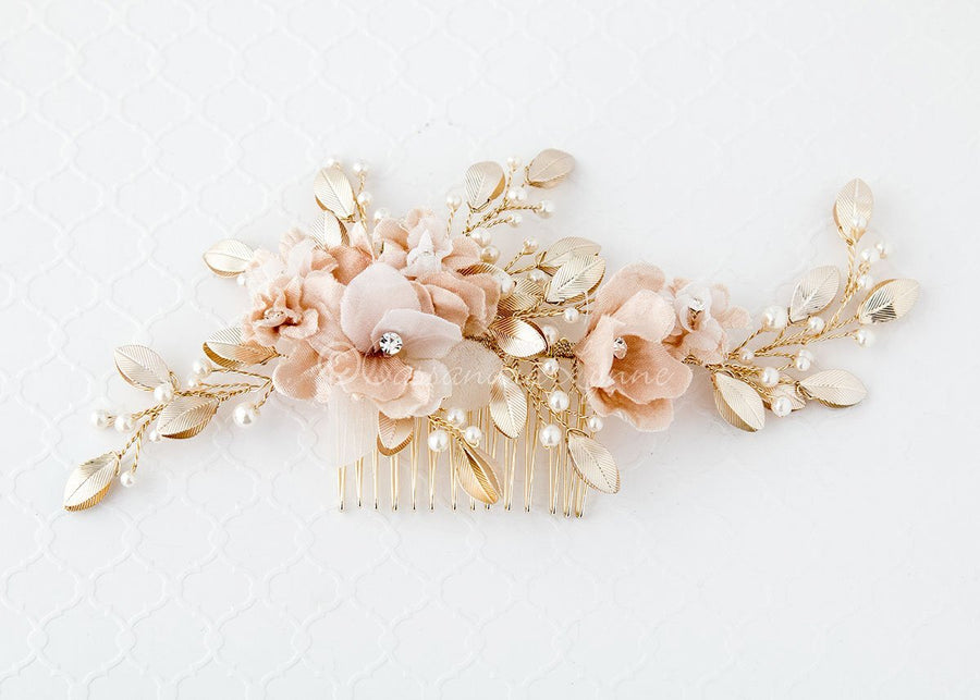 Flower bridal combs bridal hair flowers wedding hair flowers bridal hair flower in pink and light gold mightylinksfo