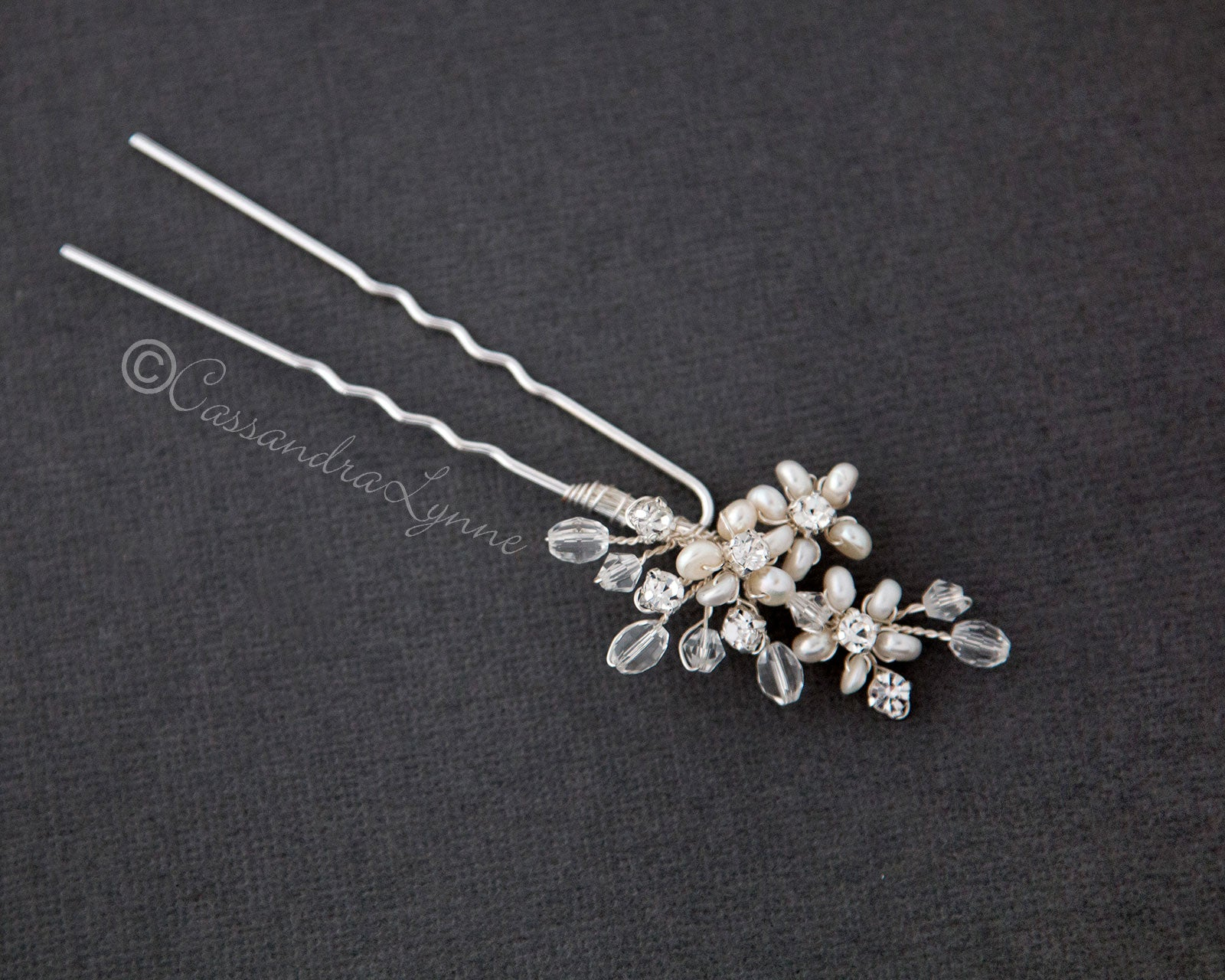 Bridal Hair Pin with Pearl Flowers and Crystal Beads