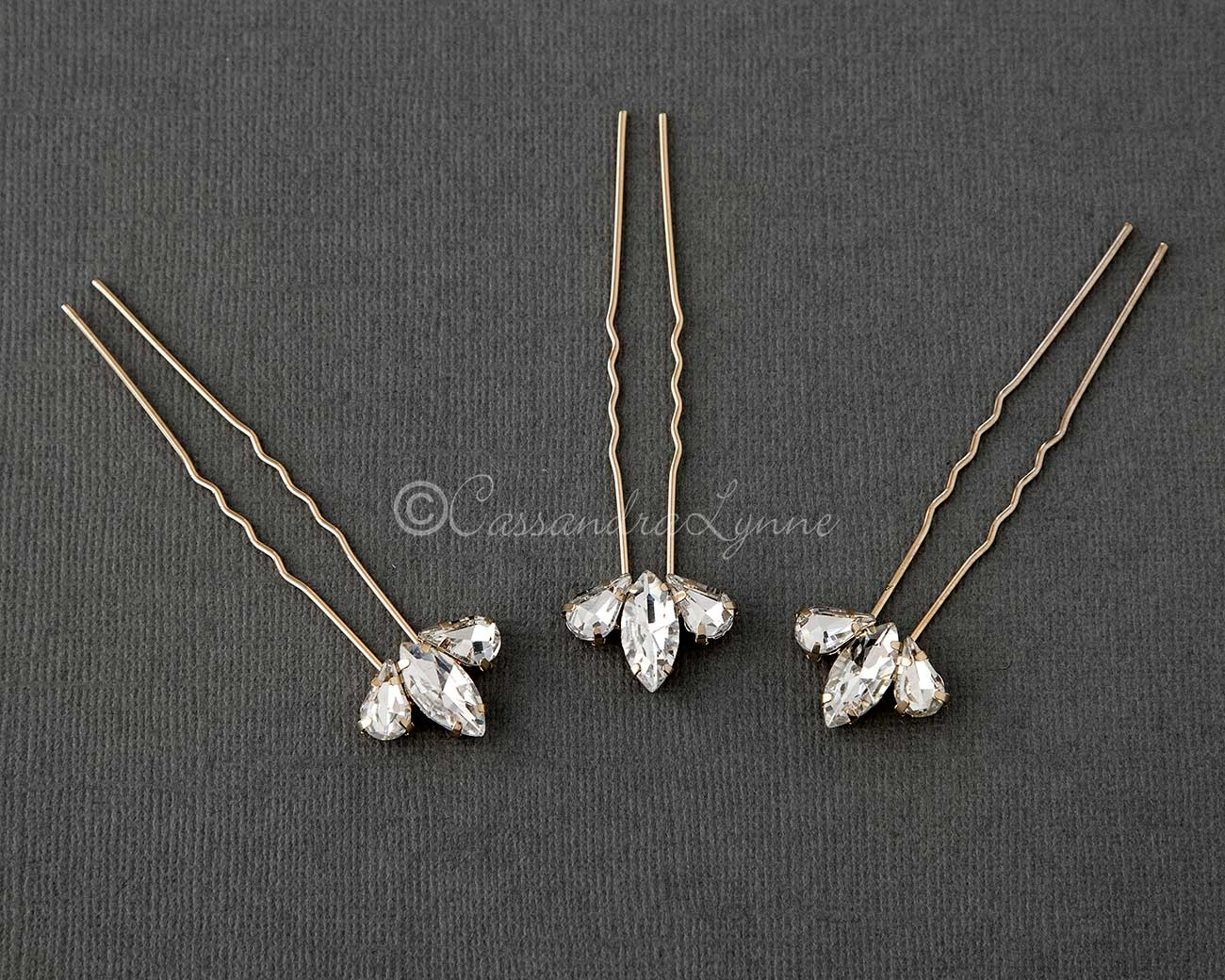 Bridal Hair Pin Set in Gold