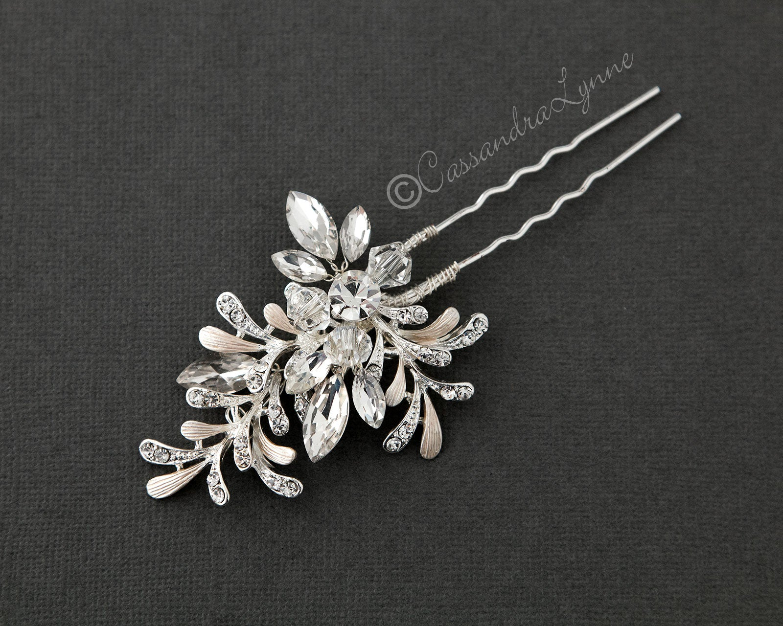 Bridal Hair Pin of Crystal and Rhinestone