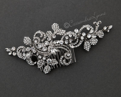 Bridal Headpiece with Pave Swirls and Leaves