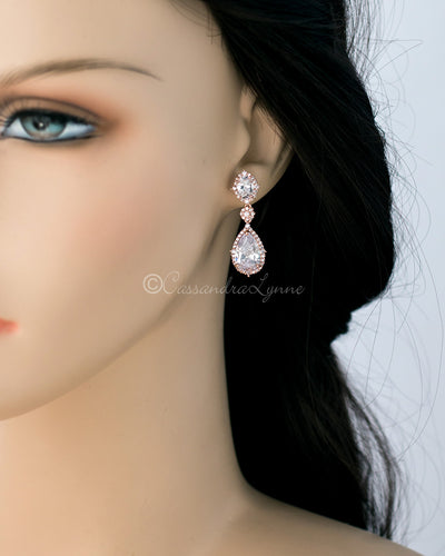 Oval and Water Drop Cubic Zirconia Earrings