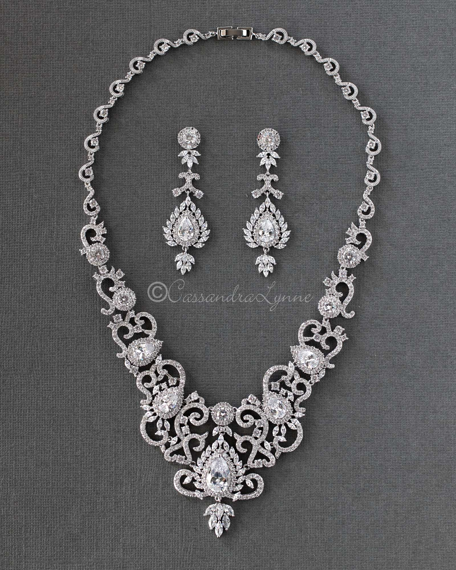Luxury CZ Bridal Necklace and Earrings Dubai