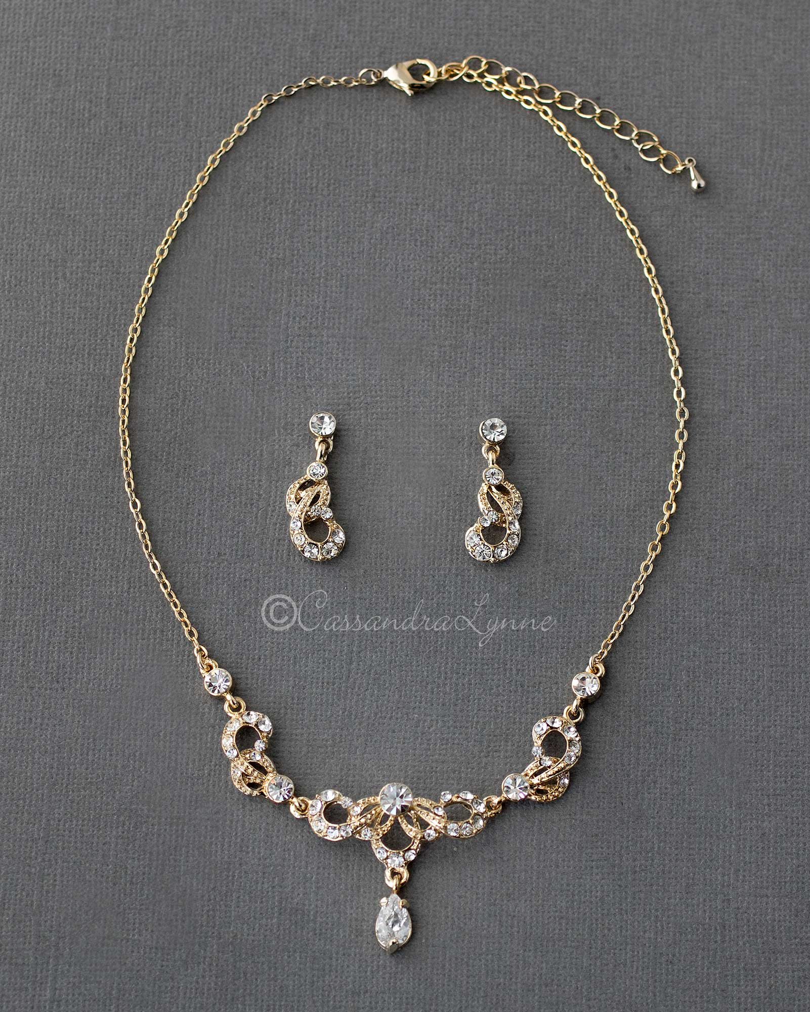 Gold Crystal Scrolls Bridal Necklace Set
