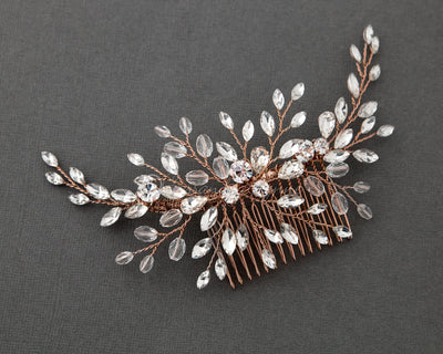 Rhinestone and Crystal Spray Bridal Comb