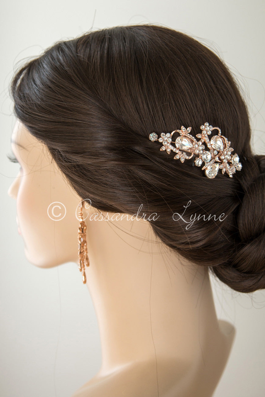Rose gold wedding hair accessories - Teardrop Bridal Hair Clip In Silver Or Rose Gold
