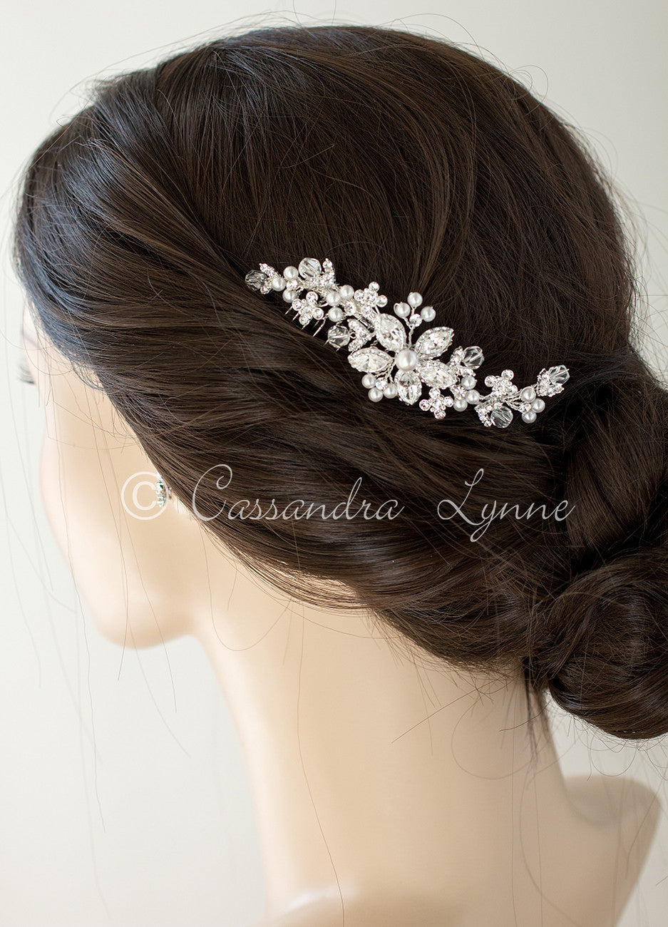 Bridal Pearl Hair Comb with Vintage Marquise Flower