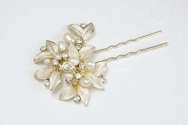 Fall Wedding Hair Pin of Leaves and Pearls Gold