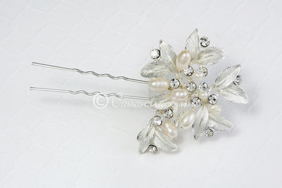 Fall Wedding Hair Pin of Leaves and Pearls Silver