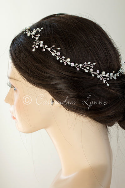 Long Bridal Hair Vine Halo with Pearls