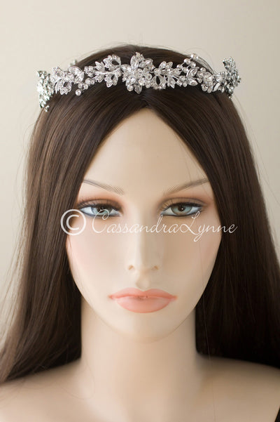 Wedding Hair Wreath Halo in Antiqued Silver Circlet