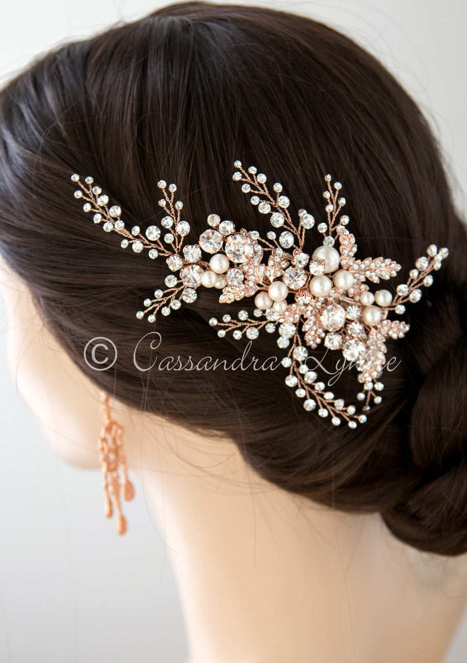 Bridal Headpiece Clip of Jewel Sprays and Pearls