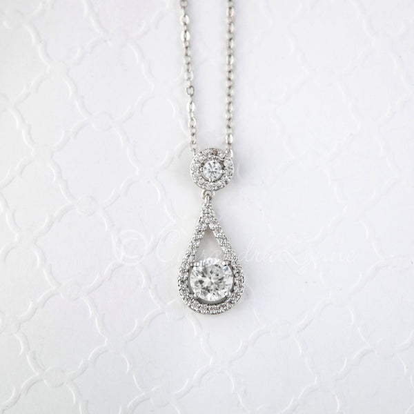 Bridal Pendant Necklace Cubic Zirconia Teardrop Shapped