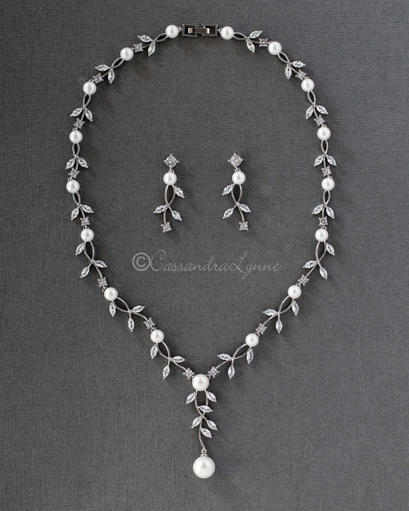 Pearl Bridal Necklace of Marquise CZ Vines