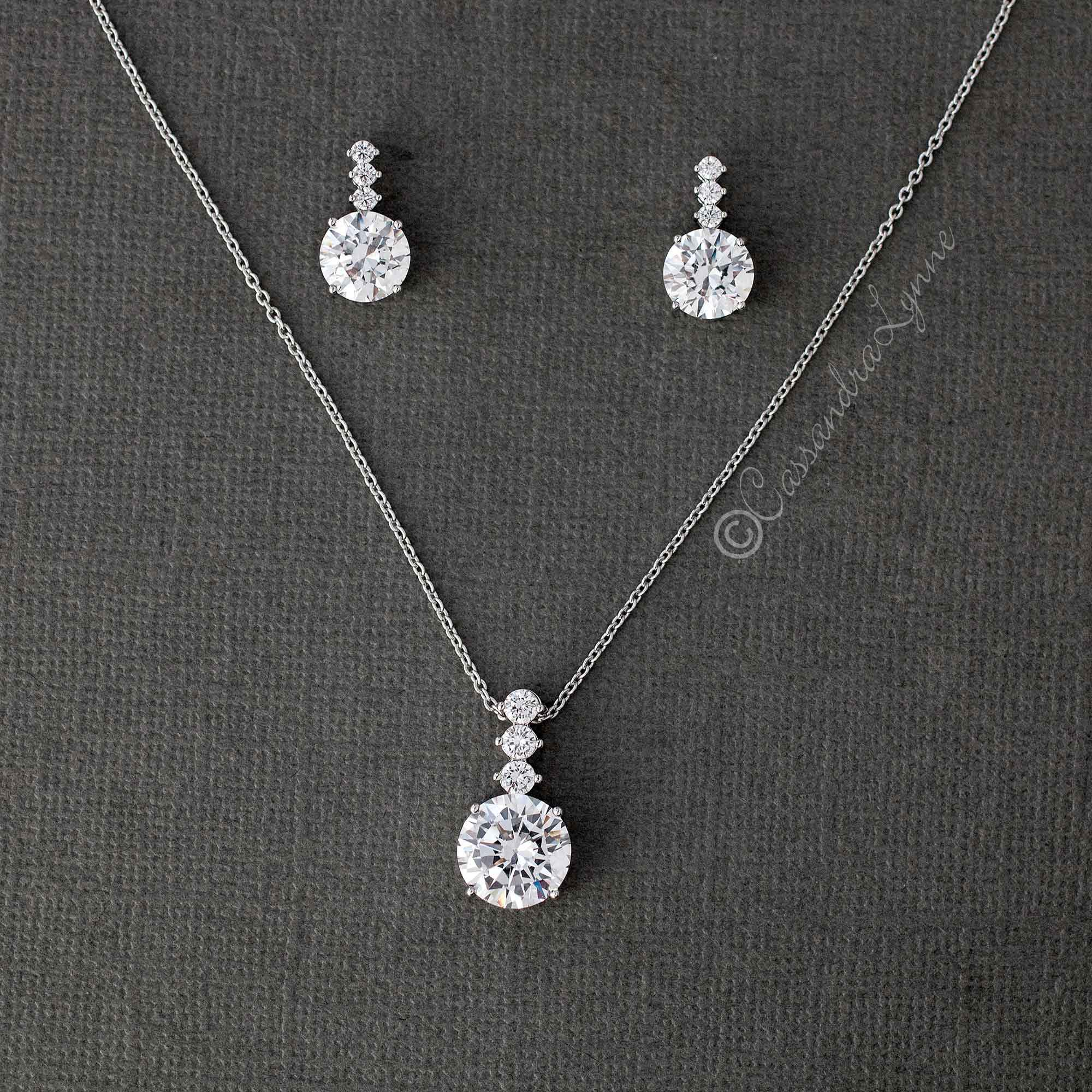 Round CZ Jewel Pendant Necklace Earring Set