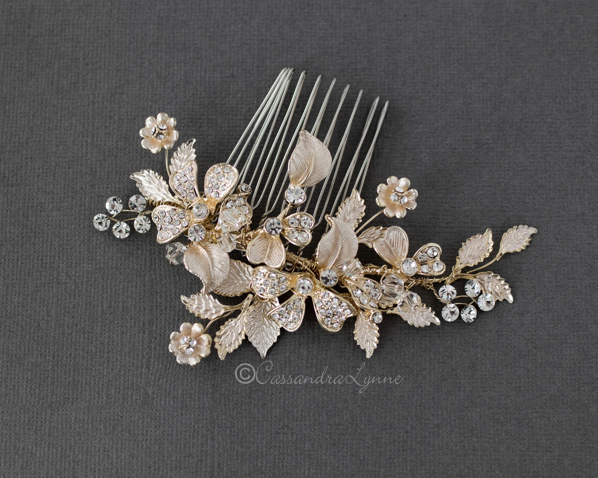 Floral Brushed Crystal Wedding Comb