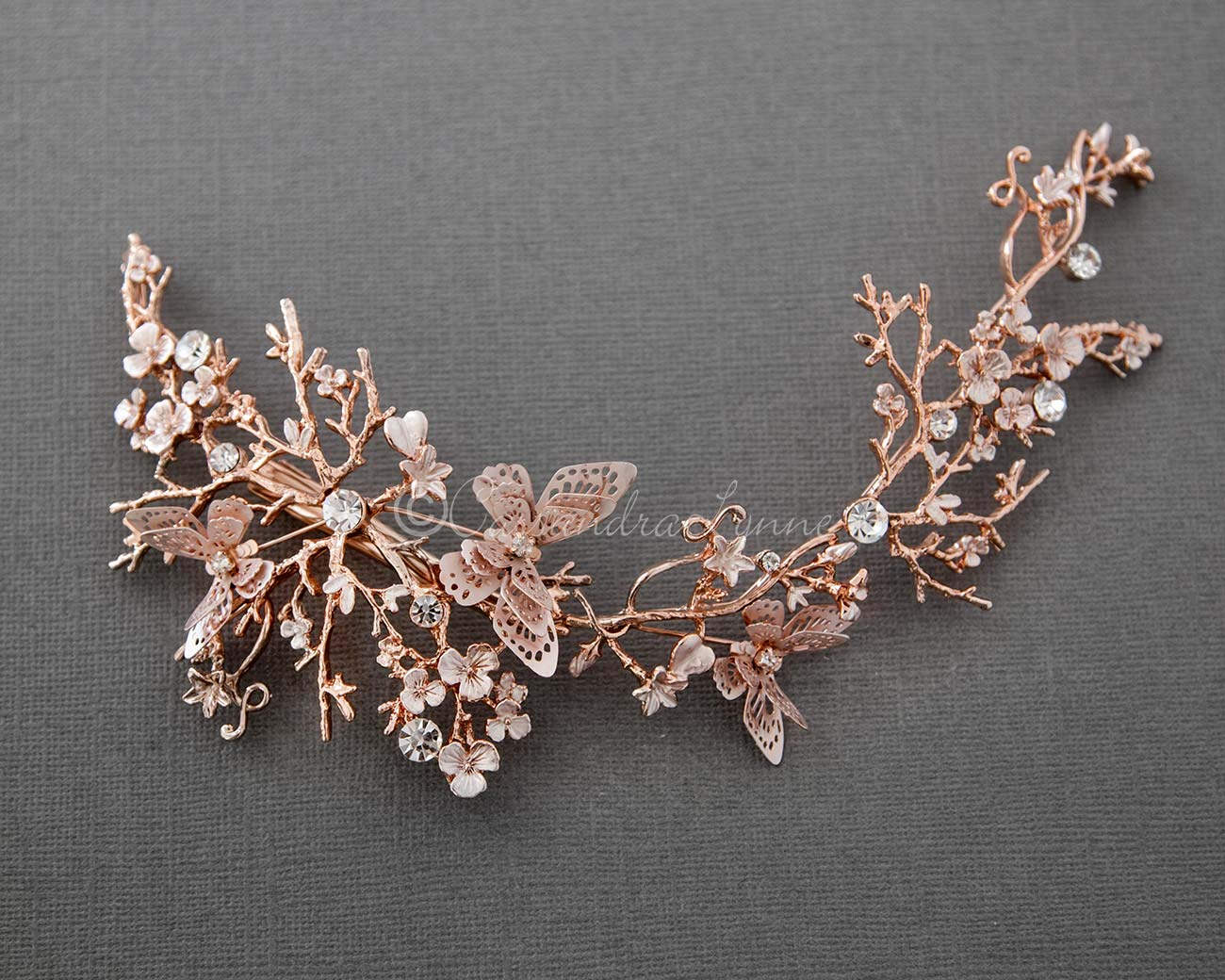 Butterfly Wedding Headpiece in Rose Gold