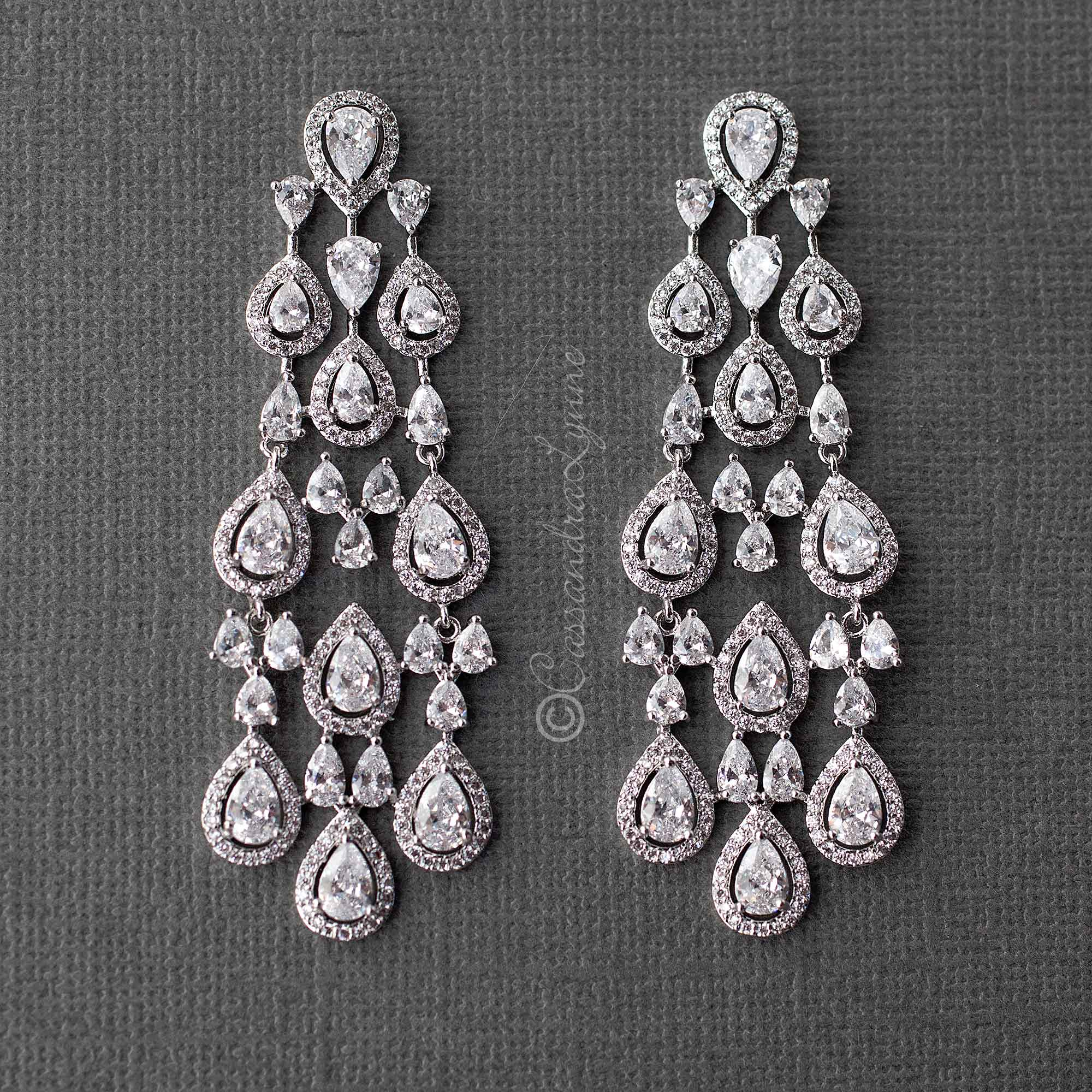 CZ Layered Chandelier Pear Drop Earrings