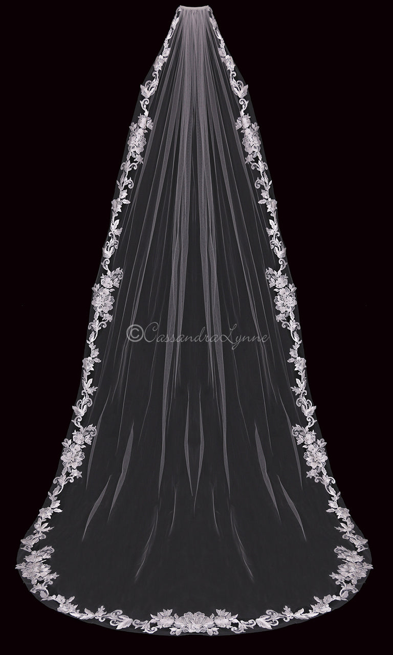 Fingertip Wedding Veil with Sequins and Beads