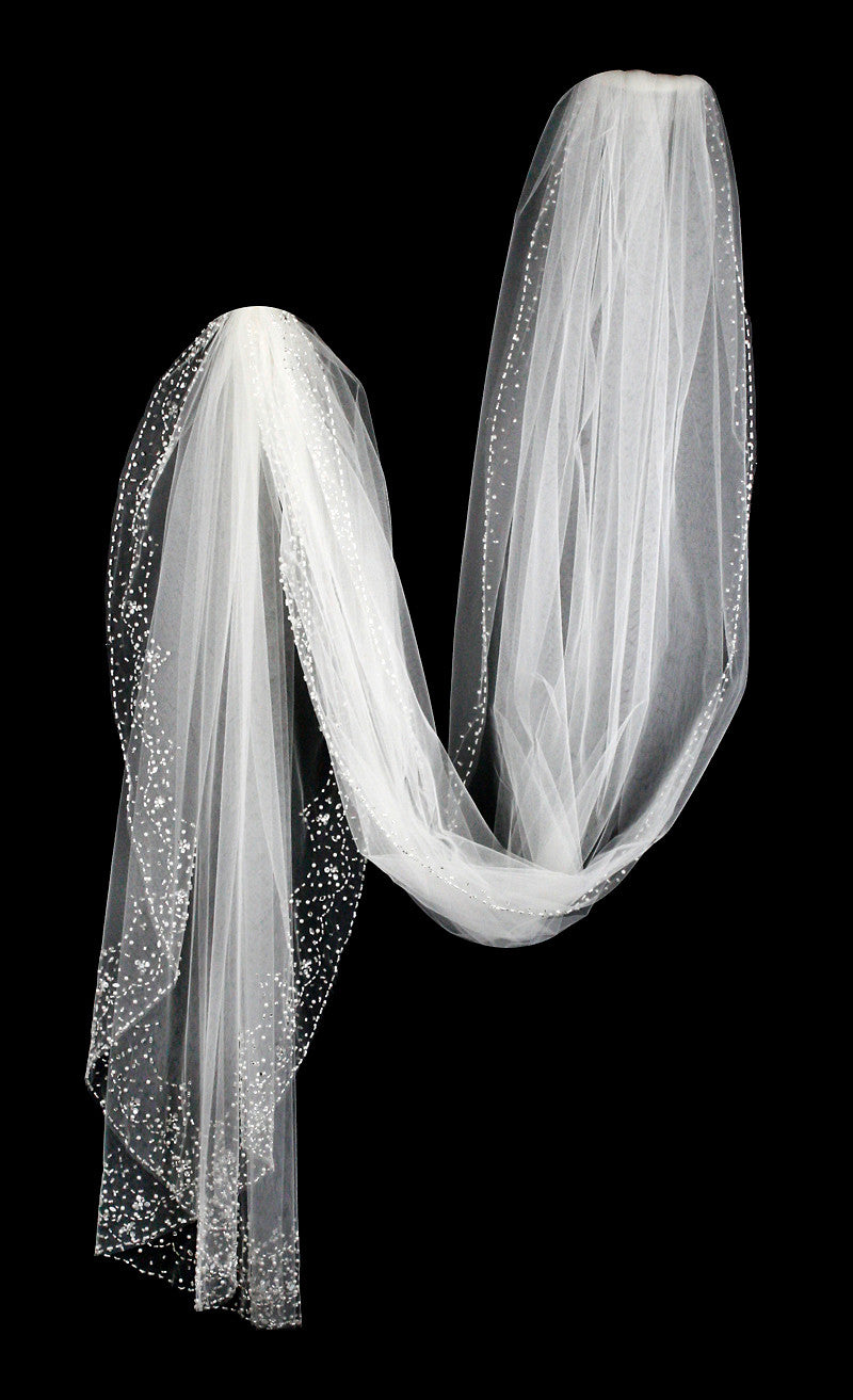 Beaded Cathedral Bridal Veil with Pearls