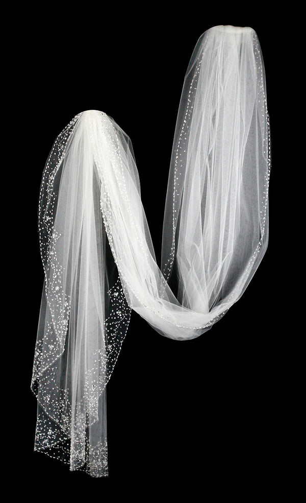 Beaded Cathedral Bridal Veil With Pearls Cassandra Lynne