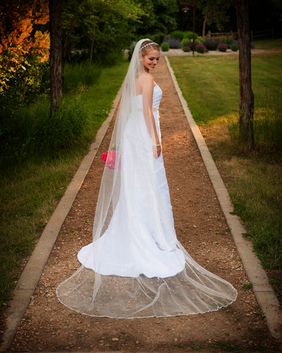 Opaque Beads and Pearls 108 Inch Wedding Veil