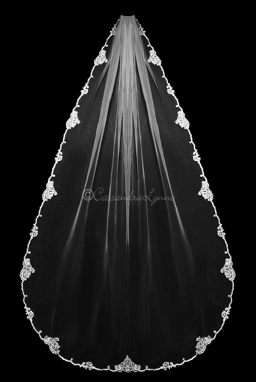 144 Inch Cathedral Lace bridal Veil with Pearls