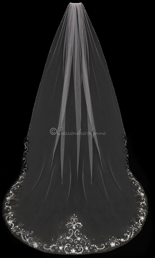 Ivory Cathedral Length Beaded Wedding Veil