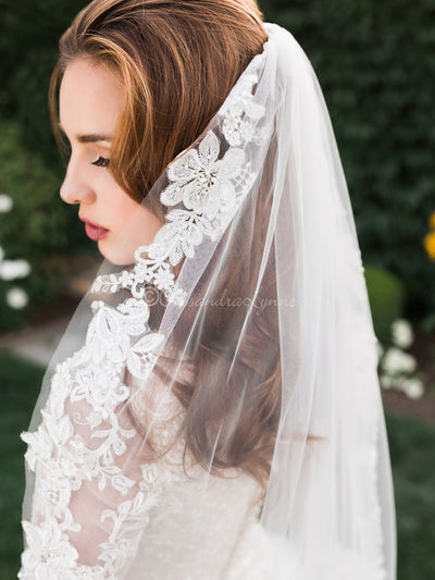 Cathedral Veil with Silver Threaded Flowers and Pearls