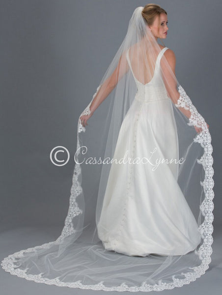 Cathedral Wedding Veil with Wide Floral Lace