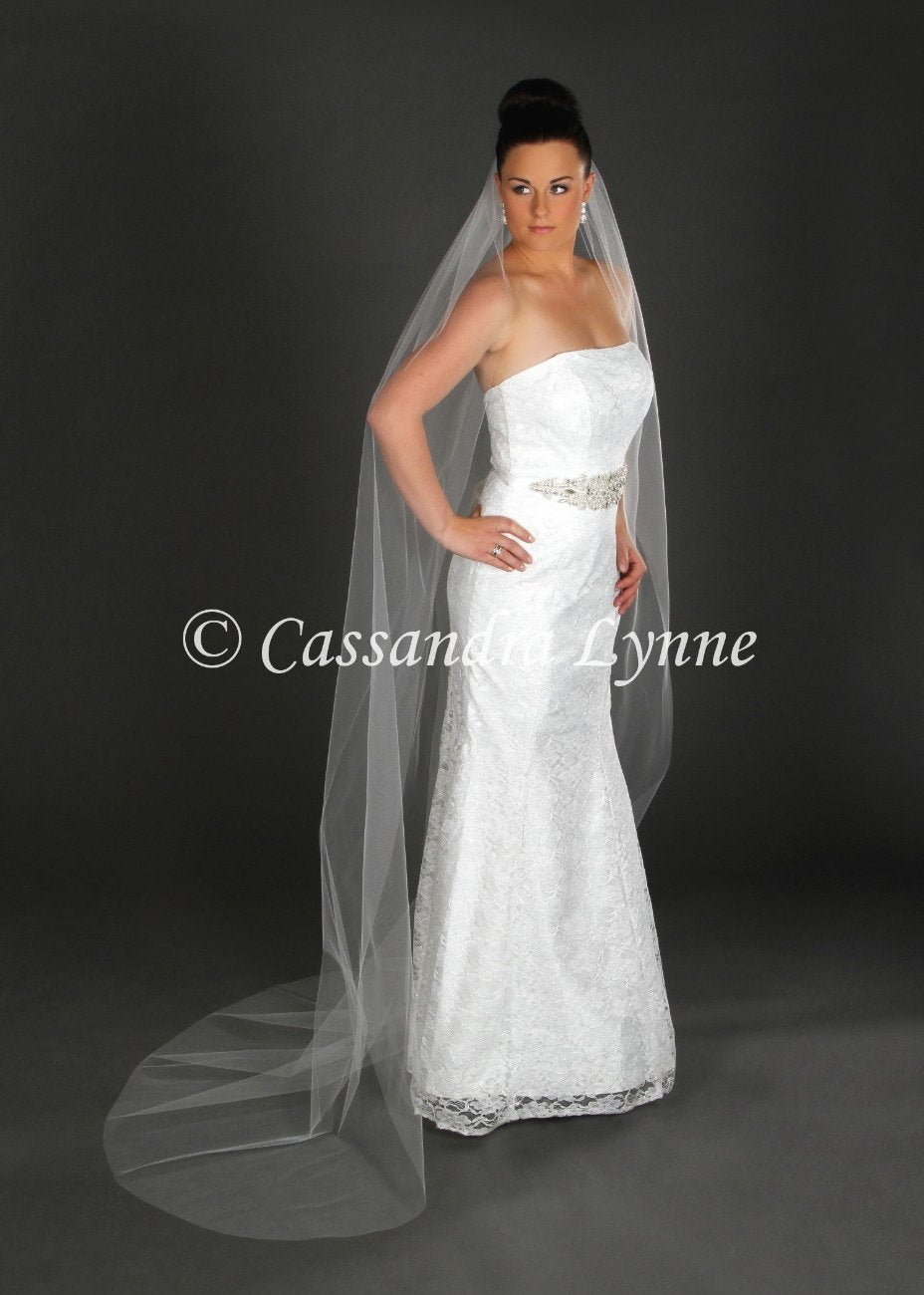 Chapel Length Cut Edge Wedding Veil
