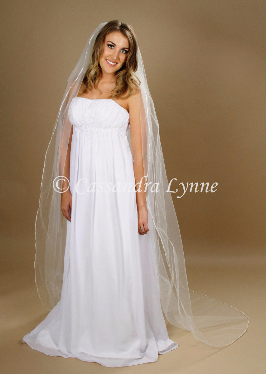 Chapel Length Wedding Veil with Thin Ribbon