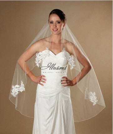 45 Inch bridal Veil with Lace Appliques