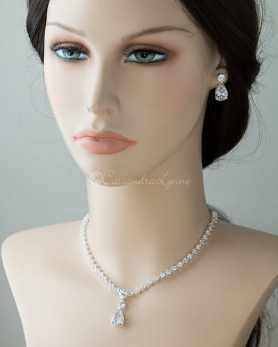 Classic Teardrop Wedding Jewelry Set