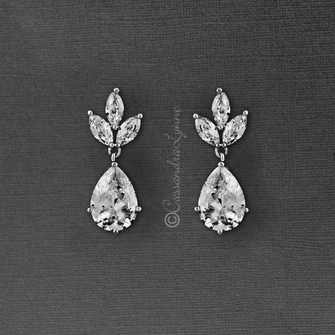 Classic Wedding Earrings with CZ Pear Drop
