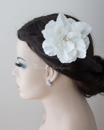 Satin Wedding Hair Flower with Pearl Center