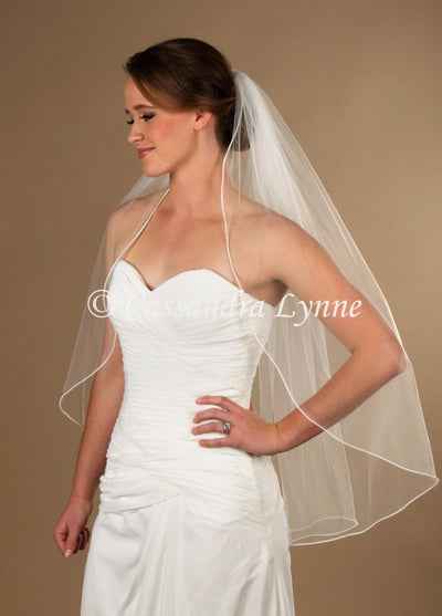 Fingertip Bridal Veil with Pearl Trim