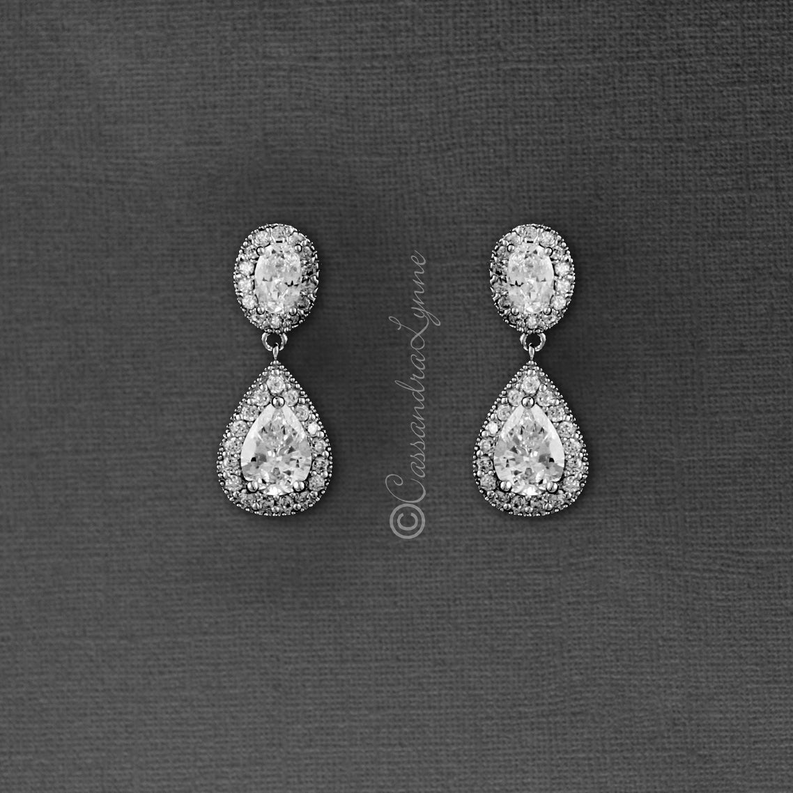 Clip-On CZ Earrings for Brides