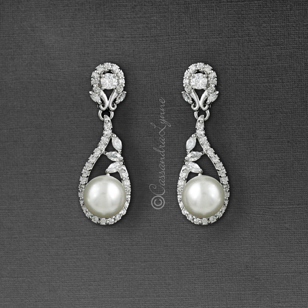 Clip-On CZ Drop Earrings with Pearls for the Bride
