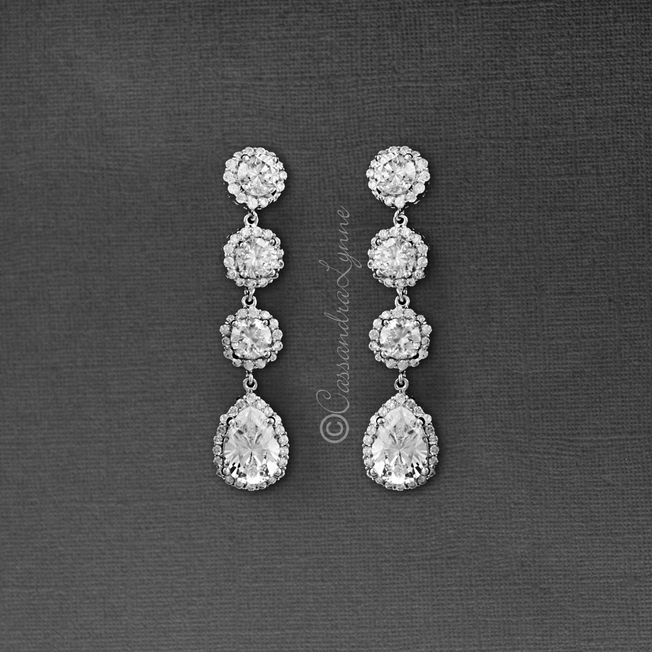 Clip-On CZ Bridal Earrings of Pave Round Drops