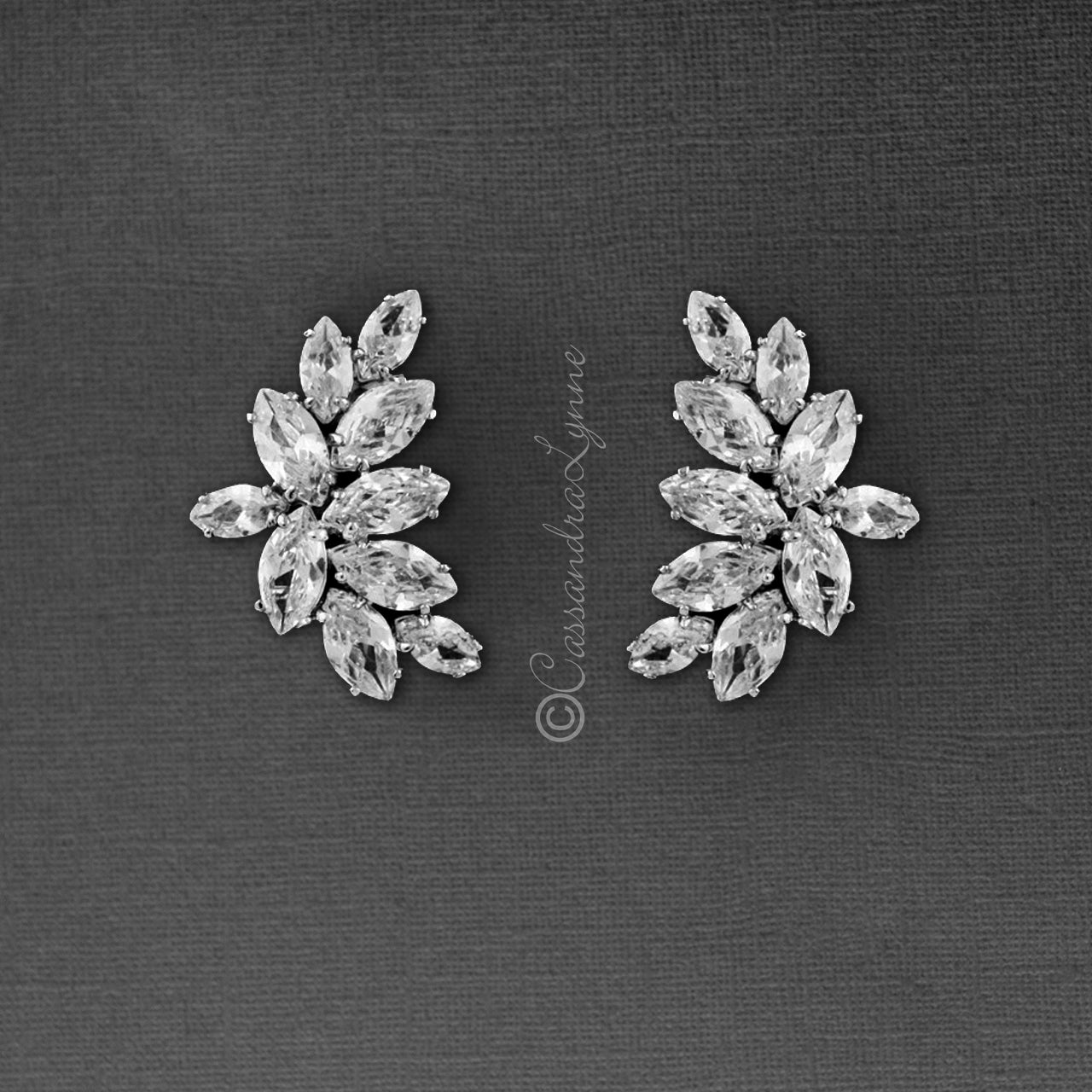 Clip-On CZ Bridal Earrings of Marquise Leaf Clusters