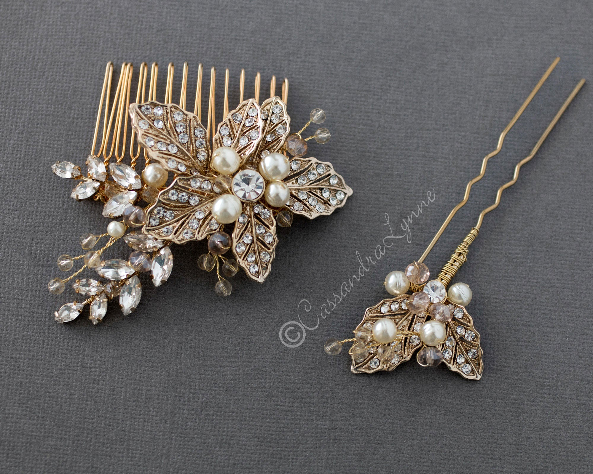 Gold Comb and Clip Set of Pearls and Crystals OOAK