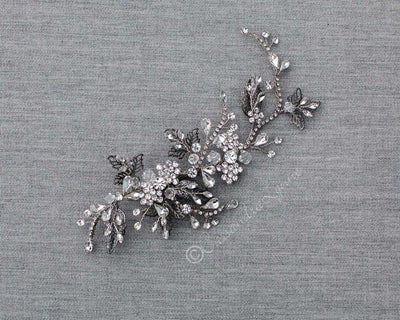 Antique Silver Crystal Hair Clip