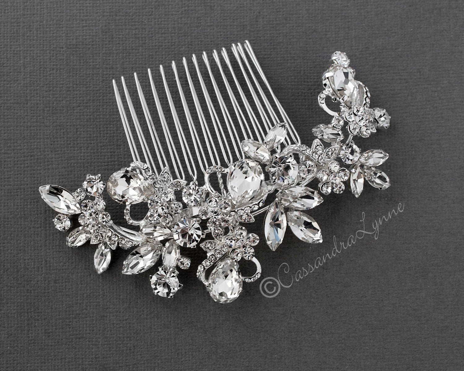 Bridal Hair Comb of Pear and Marquise Crystals