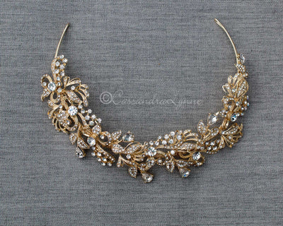 Light Gold Crystal Bridal Headpiece