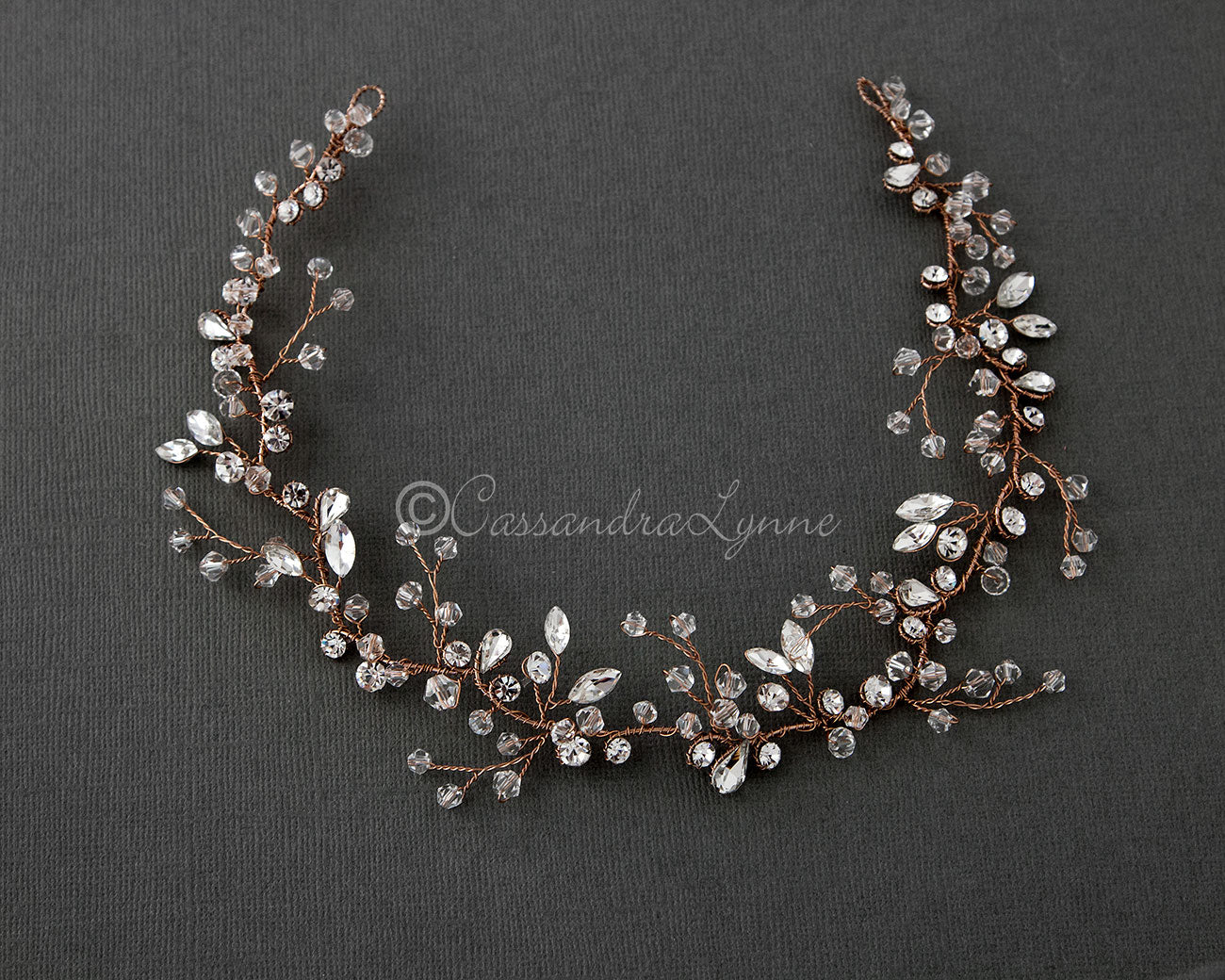 Hand Wired Rose Gold Crystal Wedding Headpiece